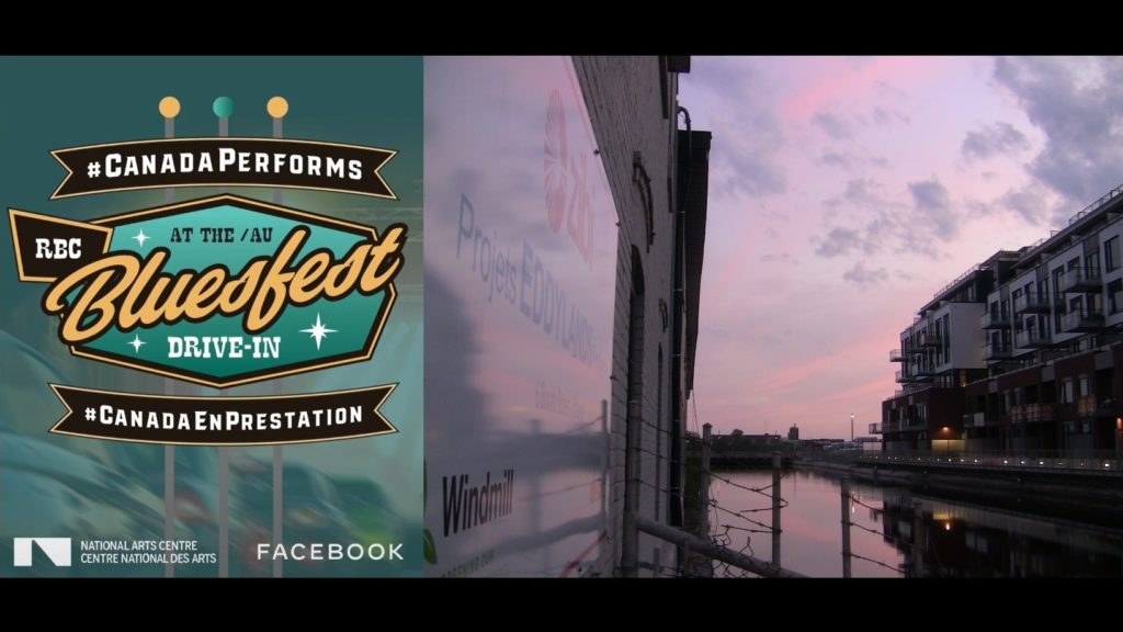 The Bluesfest drive-in promo logo beside a photo of the Zibi sign and island development