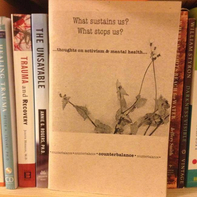 Photo of Counterbalance zine on bookshelf