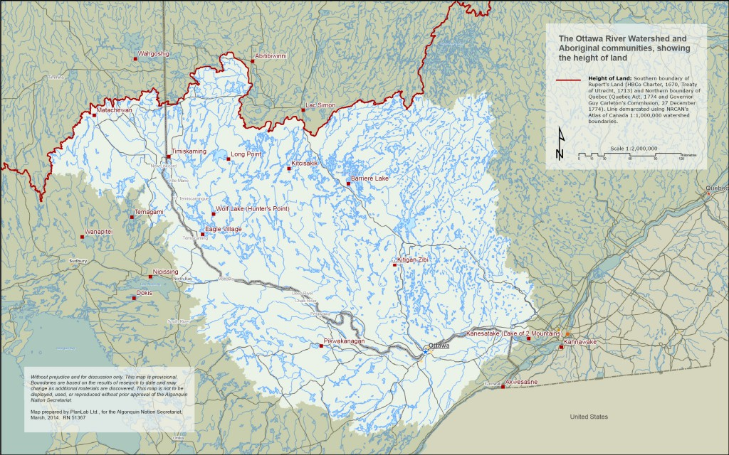 Map of the Ottawa River Watershed - Click the map for full-size image, or download the pdf version.