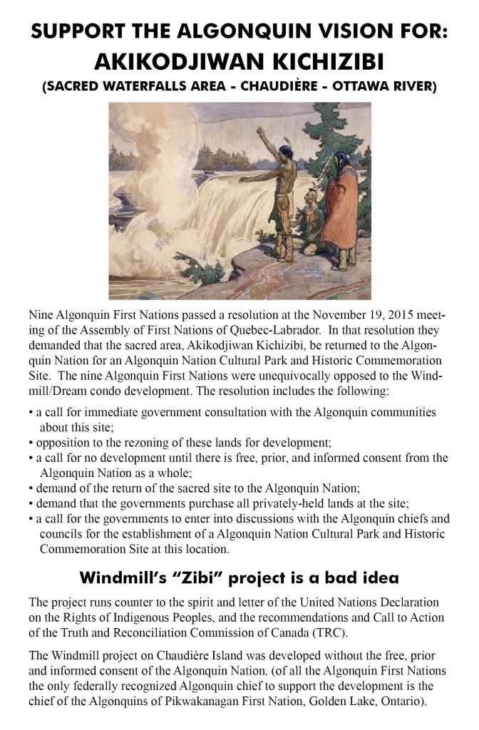 Cover page of handout to protect the sacred site - full 2-pg pdf (meant for printing double-sided and folding) at www.bit.ly/chaudiere-flyer