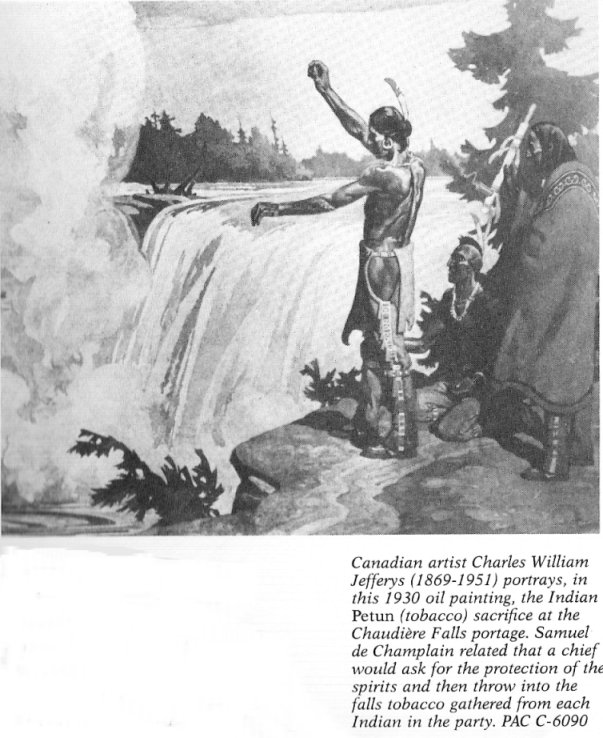 Charles William Jefferys 1930 painting of a tobacco sacrifice at Chaudière Falls (courtesy www.bytown.net)